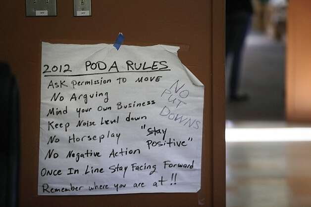 A sign taped on the wall in the Pod A dorms lists dorm rules at Log Cabin Ranch School on Wednesday, June 6, 2012 in LaHonda, Calif. Photo: Lea Suzuki, The Chronicle