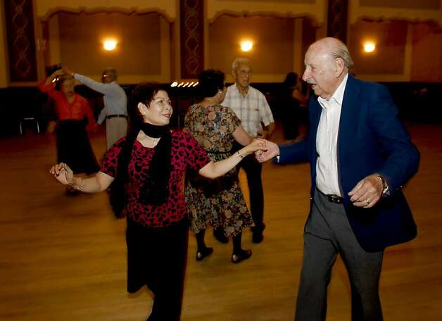 "Nina Nguyen and Ray Barbera, during the Senior Center ballroom dancing on Thursday July 19, 2012 in  Oakland, Ca. The City of Oakland has wiped out a 1930 law that banned ""dance marathons"". Photo: Michael Macor, The Chronicle"