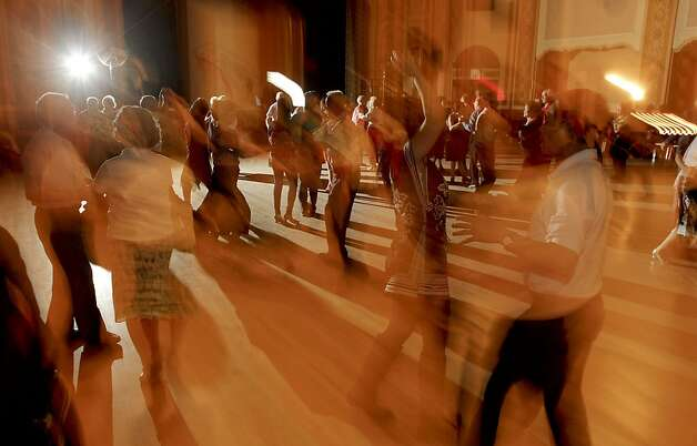 "People fill the dance floor during the Senior Center ballroom dancing on Thursday July 19, 2012 in  Oakland, Ca. The City of Oakland has wiped out a 1930 law that banned ""dance marathons"". Photo: Michael Macor, The Chronicle"