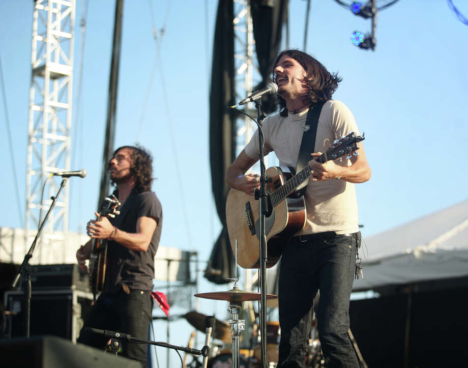 Scott, left, and Seth Avett of the Avett Brothers headline on the main stage at the Gathering of the Vibes in Bridgeport on Sunday, July 22, 2012. Photo: Brian A. Pounds / Connecticut Post freelance