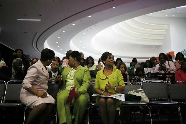 "Carolyn House Stewart, right, International President of the AKA sorority, waits for the opening ceremony of the exhibition in Moscone Convention Center which is named: ""Unsung Alpha Kappa Alpha Women of the Civil Rights Movement"" in San Francisco, Calif. on Sunday, July 22, 2012. Photo: Sonja Och, The Chronicle"
