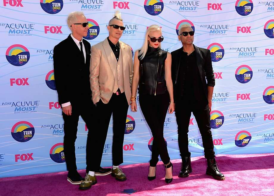 UNIVERSAL CITY, CA - JULY 22:  (L-R) Musicians Tom Dumont, Adrian Young, Singer Gwen Stefani and musician Tony Ashwin Kanal of No Doubt arrive at the 2012 Teen Choice Awards at Gibson Amphitheatre on July 22, 2012 in Universal City, California.  (Photo by Jason Merritt/Getty Images) Photo: Jason Merritt, Getty Images
