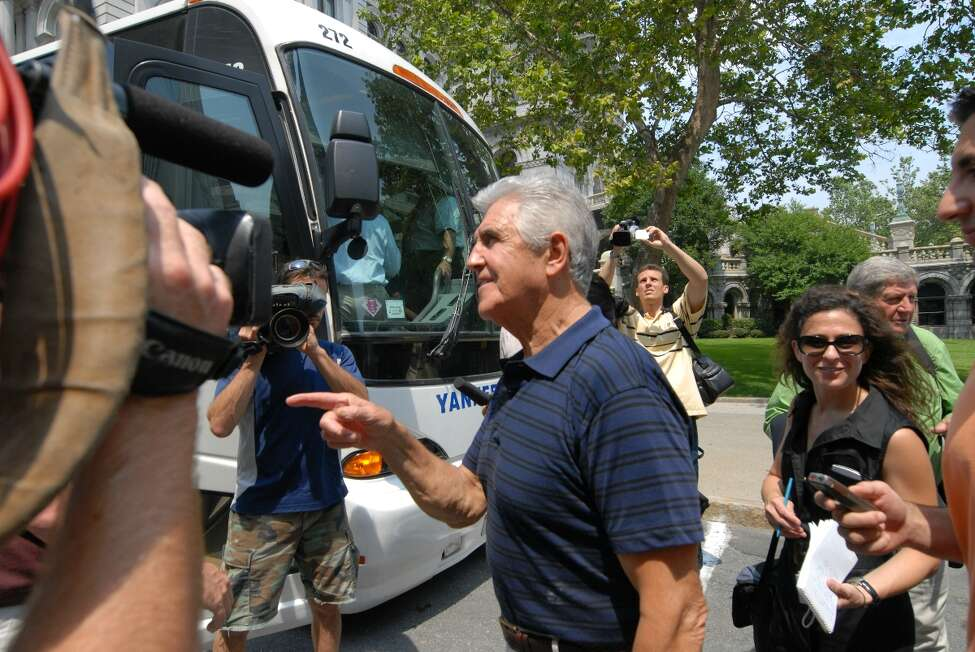 Times Union staff photographer will waldron -- Sen. Joseph Bruno boards a tour bus in Albany Friday afternoon, for a media tour of Capital Region Locations which the Senator helped to secure funding for. Senator Bruno retired from office, Friday July 18, 2008.