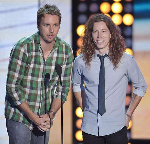 Dax Shepard, left, and Shaun White speak onstage at the Teen Choice Awards on Sunday, July 22, 2012, in Universal City, Calif. (Photo by John Shearer/Invision/AP) Photo: John Shearer, Associated Press