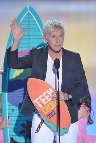 Ellen DeGeneres accepts the award for choice comedian onstage at the Teen Choice Awards on Sunday, July 22, 2012, in Universal City, Calif. (Photo by John Shearer/Invision/AP) Photo: John Shearer, Associated Press