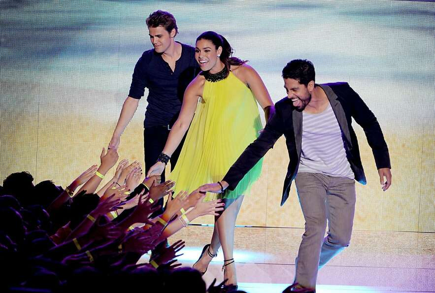 UNIVERSAL CITY, CA - JULY 22:  (L-R) Actor Paul Wesley, singer Jordin Sparks, and actor Adam Rodrigu