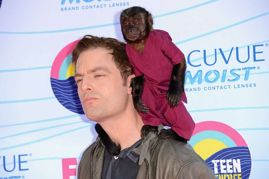 UNIVERSAL CITY, CA - JULY 22:  Actor Justin Kirk and Crystal the Monkey arrive at the 2012 Teen Choice Awards at Gibson Amphitheatre on July 22, 2012 in Universal City, California.  (Photo by Jason Merritt/Getty Images) Photo: Jason Merritt, Getty Images