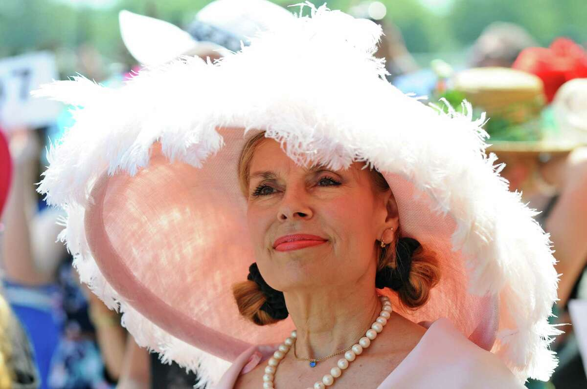 Barbara Schaffel of Litchfield, CT during judging in the Fashionably Saratoga hat contest at the Saratoga Race Course on Sunday July 22, 2012 in Saratoga Springs, NY. (Philip Kamrass / Times Union)