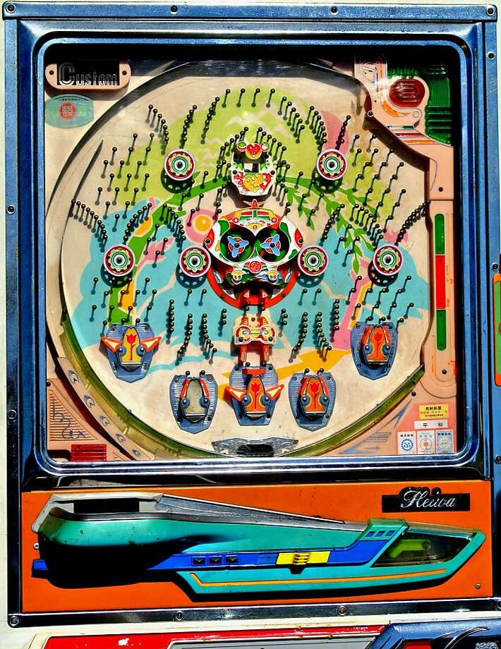 """A Heiwa Custom Pachinko pinball machine is part of  the art exhbition """"Bagatelle, Pachinko and Peggle"""" which opened this weekend (aug. 3) and runs through Sept. 30 at the Pacific Pinball Museum in Alameda. Photo: Michael Schiess"""