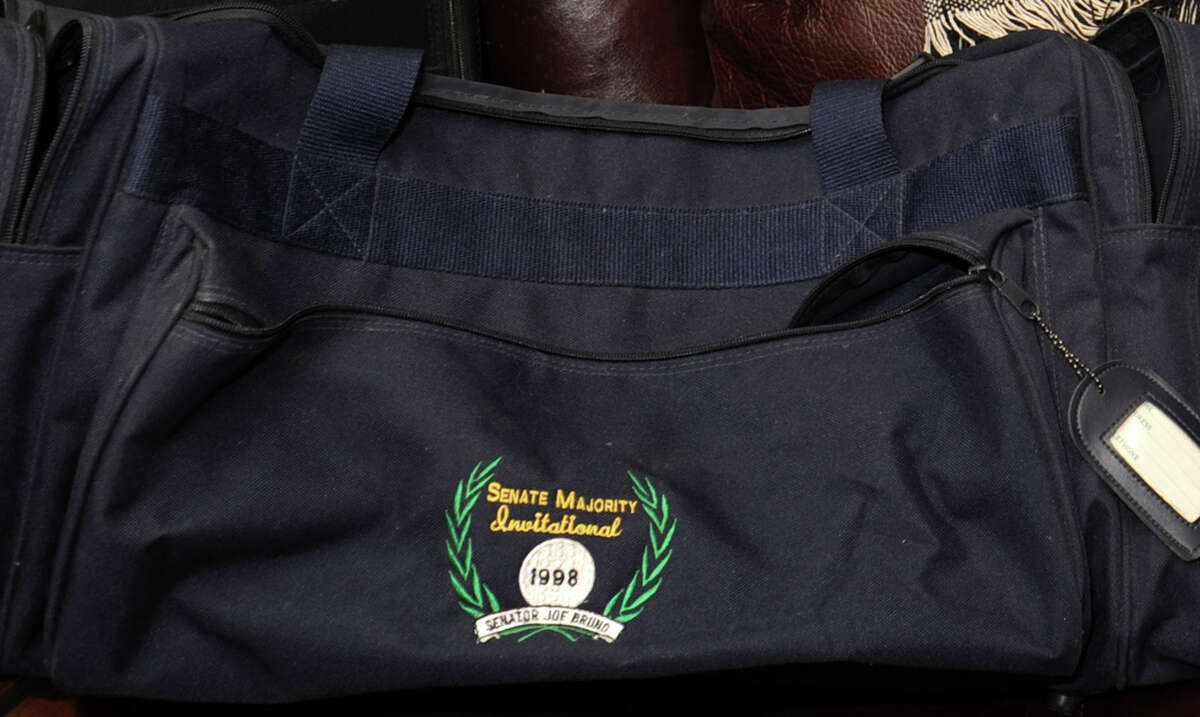 Political golf fundraising gym bag from the 1998 Senator Joe Bruno Senate Majority Invitaional at the home of Justin McCarthy on Thursday, July 19, 2012 in Albany, N.Y. (Lori Van Buren / Times Union)