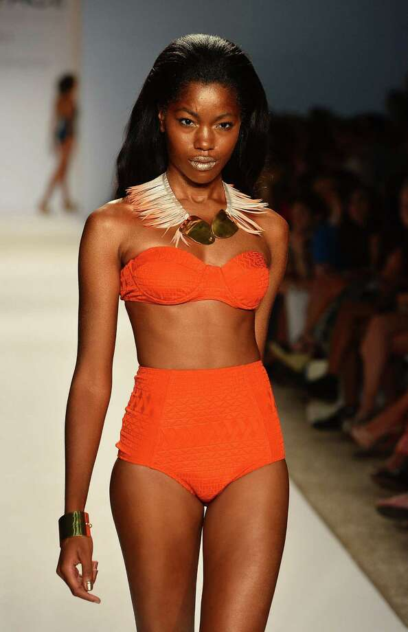 A model walks the runway at the MAIO Swim By Monica Wise show. Photo: Frazer Harrison, Getty Images For L Space / 2012 Getty Images