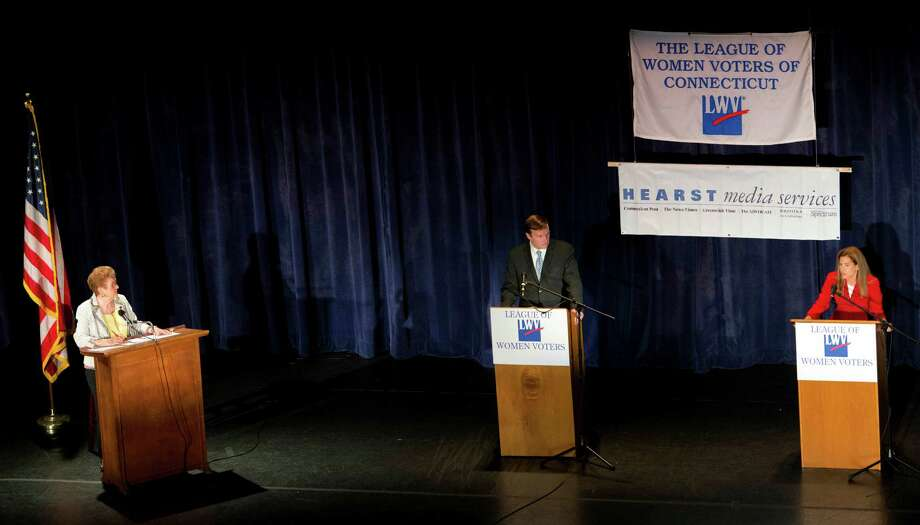 """Democratic primary debate between Connecticut 5th district Congressman, Chris Murphy, the endorsed candidate for the U.S. Senate, and challenger Susan Bysiewicz, the ex-Secretary of the State. Kay Maxwell, past president of the """"League of Women Voters of the United States"""" served as moderator of the event held at the Klein Memorial Auditorium in Bridgeport, CT on Sunday July 22nd 2012. Photo: Mark Conrad / Connecticut Post Freelance"""