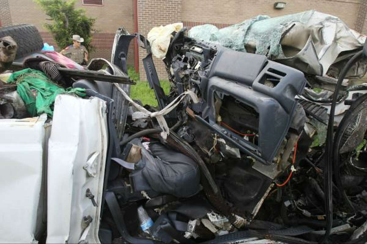 The pickup that crashed near Goliad last night killing at least 13 people. A reported 23 people were in the truck.
