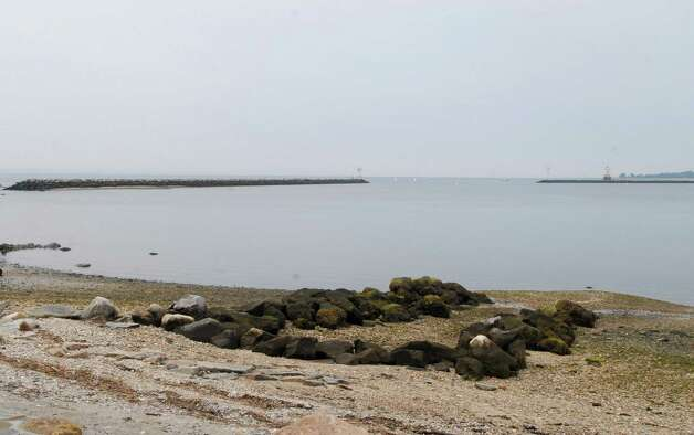 The eastwall (on left ) of Stamford (Conn.)  Harbor on Monday July 23, 2012 where  firefighter Keith Morris of  New Rochelle, N.Y. was killed when his boat crashed and flipped. Photo: Dru Nadler / Stamford Advocate Freelance