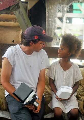 "Director Behn Zeitlin talks with actress Quvenzhane Wallis on the set of ""Beasts of the Southern Wild."" Photo: Fox Searchlight / Cinereach Ltd"