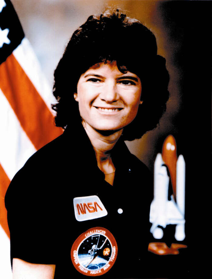 Sally Ride was the first American woman in space. Born on May 26, 1951 in Los Angeles, California, she received a Bachelor in Physics and English in 1973 from Stanford University and, later, a Master in Physics in 1975 and a Doctorate in Physics in 1978, also from Stanford. NASA selected Dr. Ride as an astronaut candidate in January 1978. She completed her training in August 1979, and began her astronaut career as a mission specialist on STS-7, which launched from Kennedy Space Center, Florida on June 18, 1983. The mission spent 147 hours in space before landing on a lakebed runway at Edwards Air Force Base, California on June 24, 1983. Dr. Ride also served as a mission specialist on STS-41-G, which launched from Kennedy Space Center, Florida on October 5, 1984 and landed 197 hours later at Kennedy Space Center, Florida on October 13, 1984. Photo: AP / Website download
