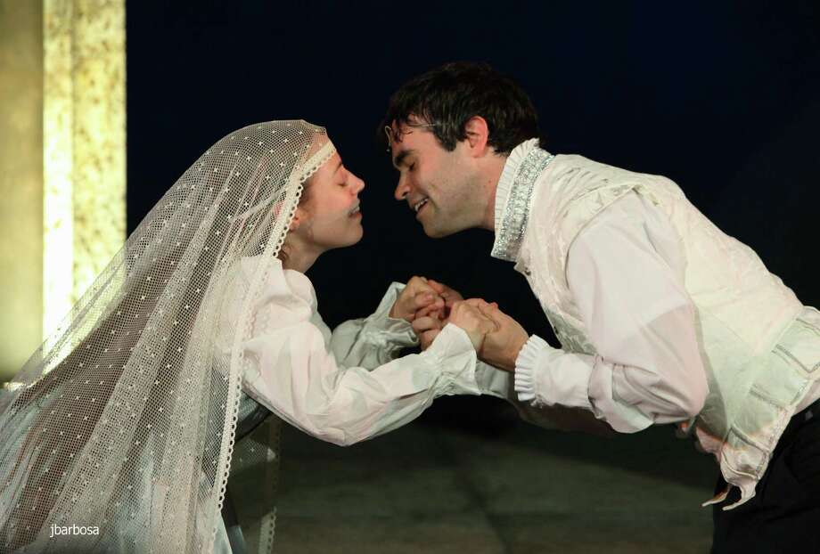 "Mark Friedlander and Erin Scanlon are playing the title roles in the Connecticut Free Shakespeare production of ""Romeo and Juiliet"" that is being presented on McLevy Green in Bridgeport on July 29 and on the grounds of the defunct American Shakespeare Festival Theatre in Stratford Aug. 1 to 5. Photo: Contributed Photo"