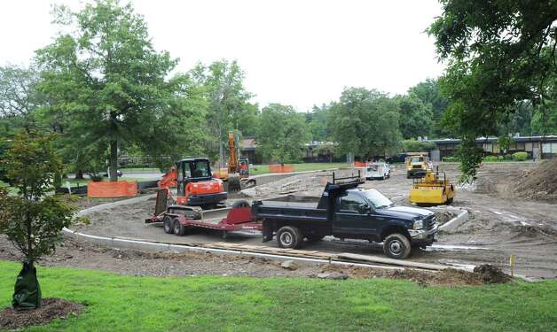 Construction work to expand the parent drop-off area at North Street School in Greenwich, Thursday afternoon, July 19, 2012. Photo: Bob Luckey / Greenwich Time