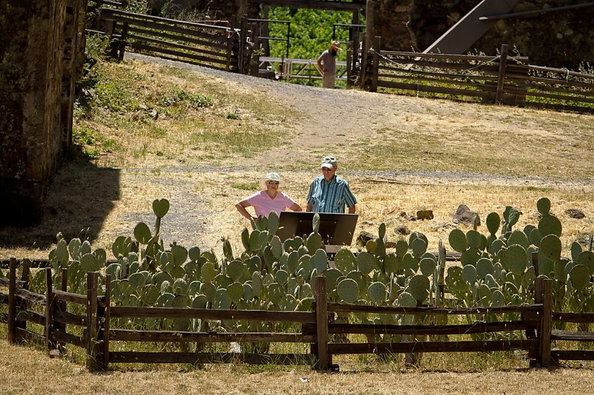 A couple looks at the experimental cactus garden at Jack London State Park in Glen Ellen, Calif., on Friday, July 13th, 2012.