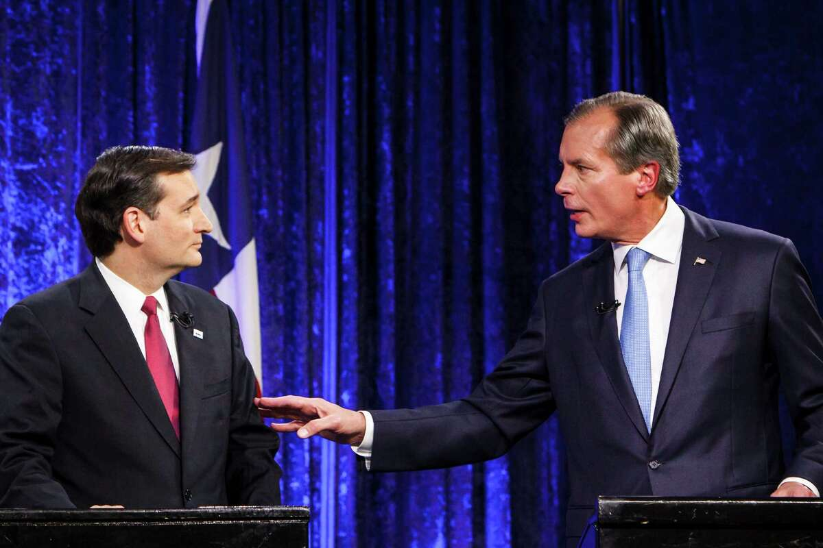 Senate candidates Ted Cruz, left, and David Dewhurst debate each other at the King Street Patriots event hall, Monday, July 23, 2012, in Houston.