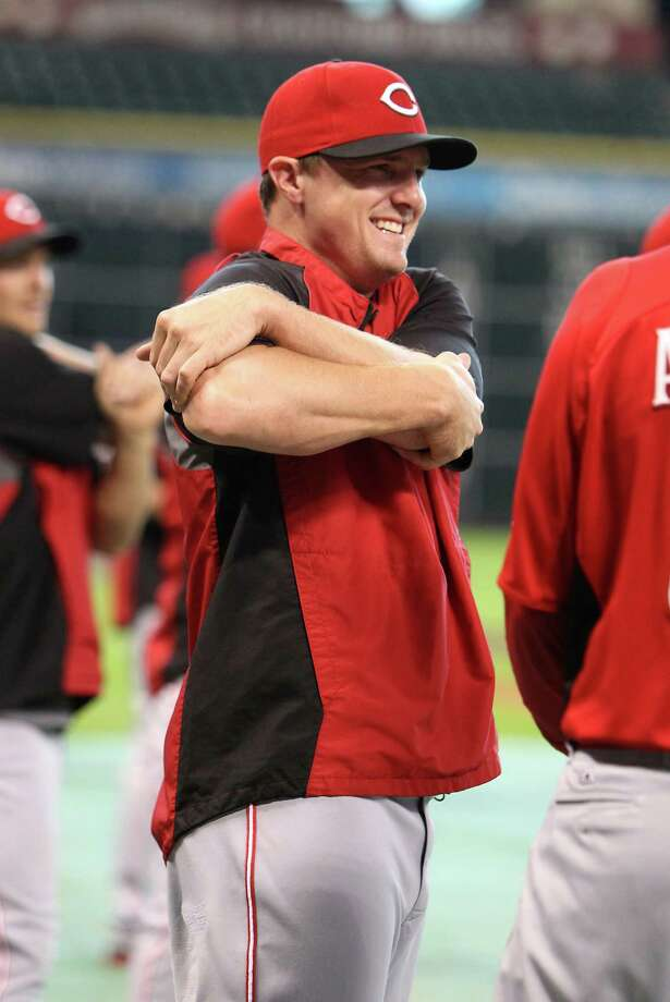 Cincinnati Reds right fielder Jay Bruce (32) stretches before batting practice during an MLB baseball game at Minute Maid Park,  Monday, July 23, 2012, in Houston. ( Karen Warren / Houston Chronicle ) Photo: Karen Warren, Staff / © 2012  Houston Chronicle