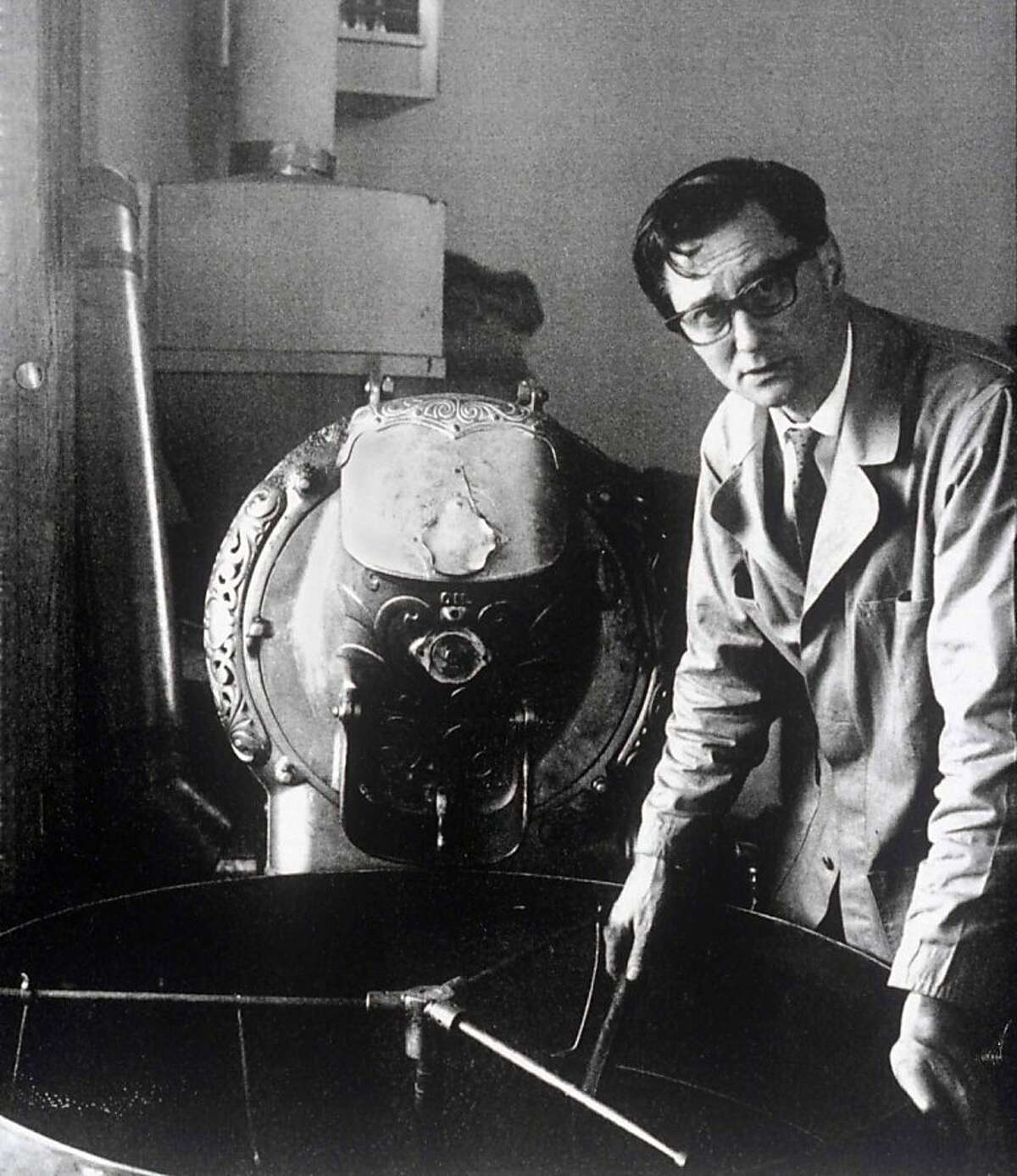 Alfred Peet with a coffee roaster in the late 1960s at the original Peet's store at Vine and Walnut in Berkeley.
