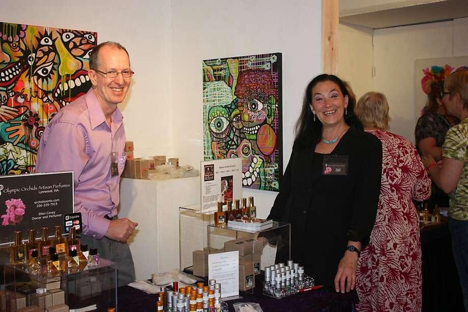 Ellen Covey (right) at the Artisan Fragrance Salon July 8 in San Francisco. Photo: Mario Gomez