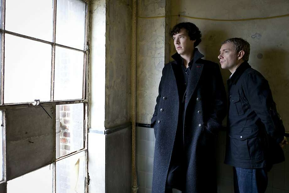 """This image released by PBS shows Benedict Cumberbatch as Sherlock, left, and Martin Freeman as Watson are shown in the """"Sherlock: A Scandal in Belgravia"""".  Cumberbatch was nominated for an Emmy award for lead actor in a miniseries or movie and Freeman was nominated for supporting actor in a miniseries or movie on Thursday, July 19, 2012. The 64th annual Primetime Emmy Awards will be presented Sept. 23 at the Nokia Theatre in Los Angeles, hosted by Jimmy Kimmel and airing live on ABC. (AP Photo/PBS-Hartwood Films for the BBC, Colin Hutton) Photo: Colin Hutton, Associated Press"""