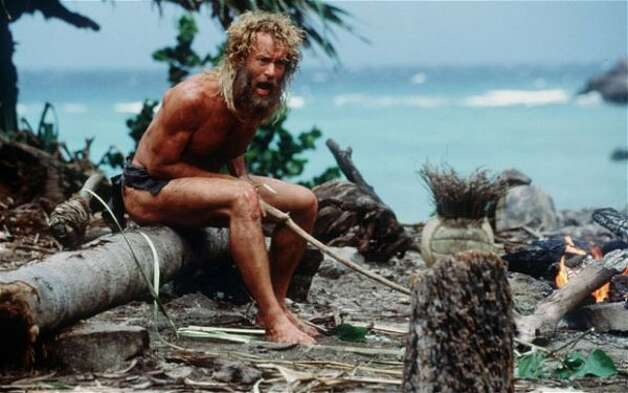 """Castaway"" (2000): A series of great slapstick bits, intended as drama."