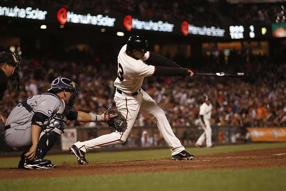 San Francisco Giants' Joaquin Arias hits a single during the eighth inning of the game against the San Diego Padres on Monday, July 23, 2012  in San Francisco, Calif. Photo: Beck Diefenbach, Special To The Chronicle