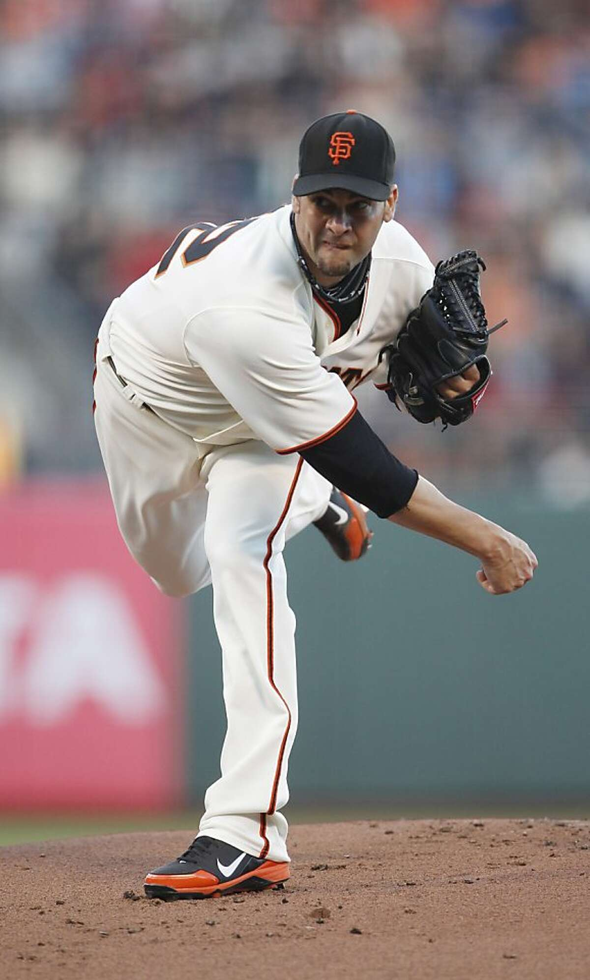 San Francisco Giants starting pitcher Ryan Vogelsong delivers a pitch during the first inning of the game against the San Diego Padres on Monday, July 23, 2012 in San Francisco, Calif.