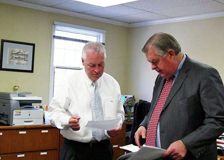 First Selectman Mike Tetreau, left, with Fiscal Officer Paul Hiller. Photo: File Photo / Fairfield Citizen