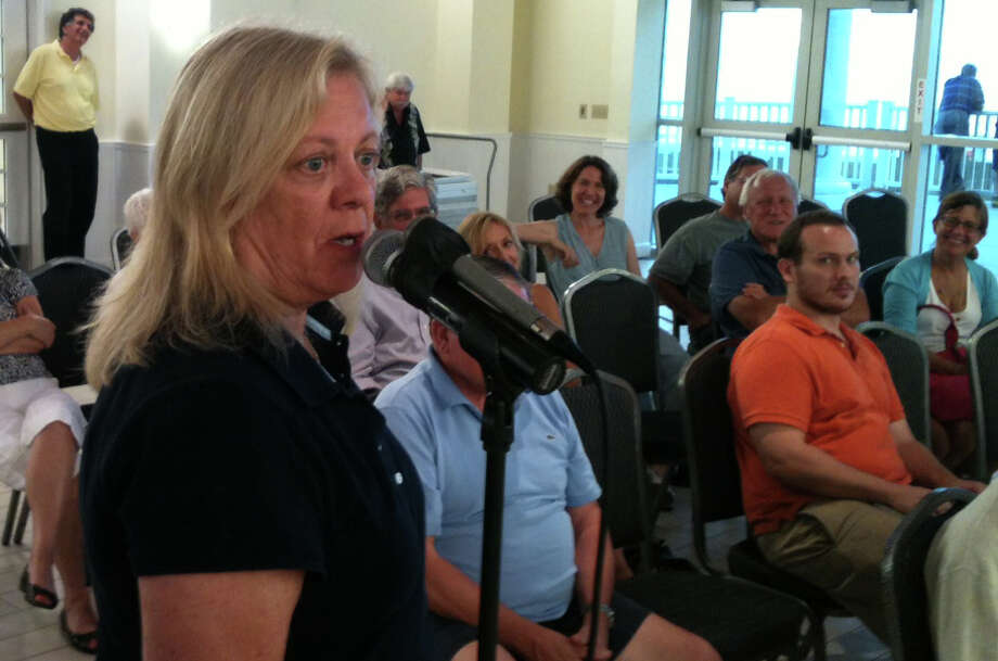 Kathy Strachan of Reef Road talks about a potential solution to beach erosion during a meeting of state legislators Monday night in Penfield Pavilion. Photo: Andrew Brophy / Fairfield Citizen contributed