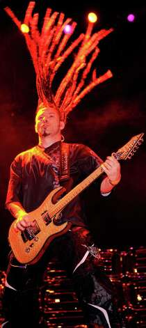 Five Finger Death Punch guitarist Zoltan Bathory performs during the 48 Hours Festival October 15, 2011 in Las Vegas, Nevada. Photo: Ethan Miller, Getty Images / 2011 Getty Images