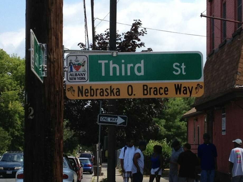 A portion of Third Street in Albany is renamed for the late Nebraska Brace, a former Common Council member, on July 24, 2012. (Jordan Carleo-Evangelist/Times Union)