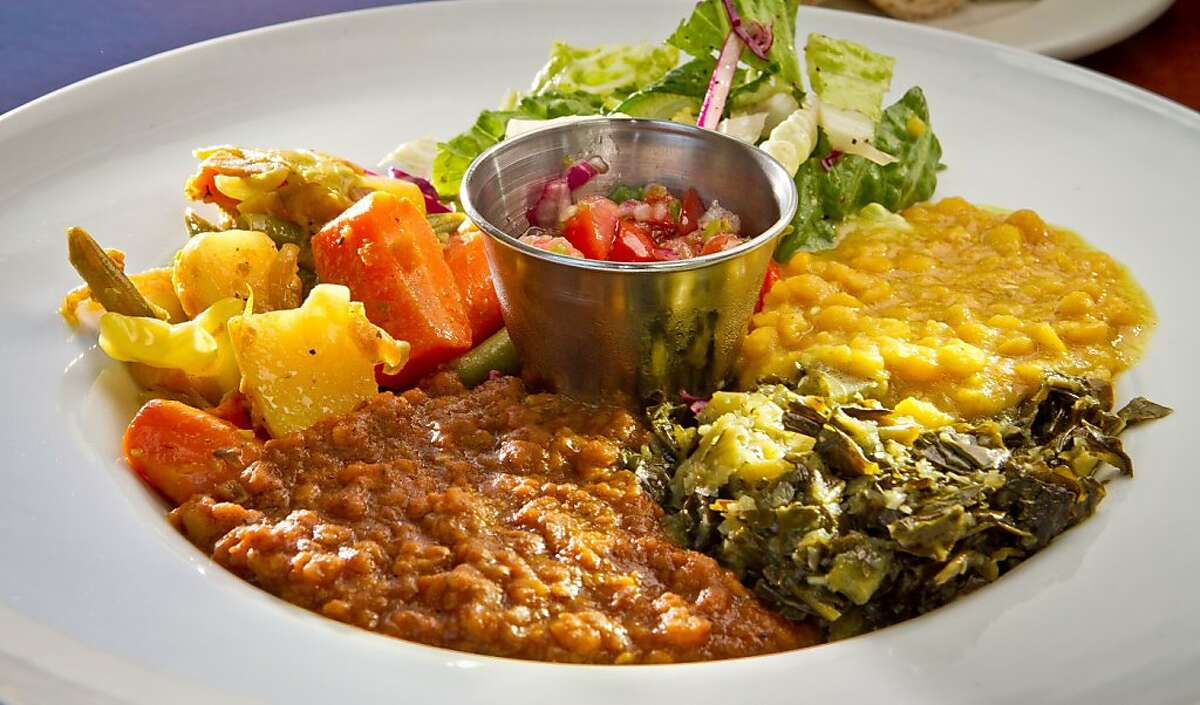 The Veggie Combo at Moya Ethiopian Eatery & Cafe in San Francisco, Calif., is seen Thursday, July 18th, 2012.