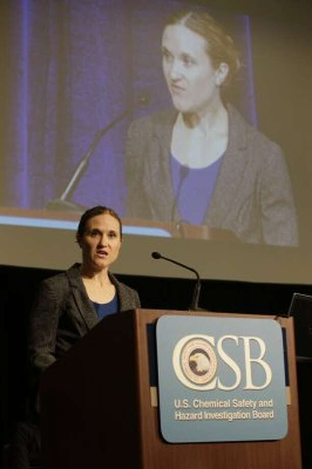 Investigation team lead Cheryl MacKenzie speaks about the preliminary findings of CSB's Macondo investigation during the Chemical Safety Board public hearing at Hyatt Regency Hotel, 1200 Louisiana Street, Tuesday,  July 24,  2012.  Photo by Melissa Phillip