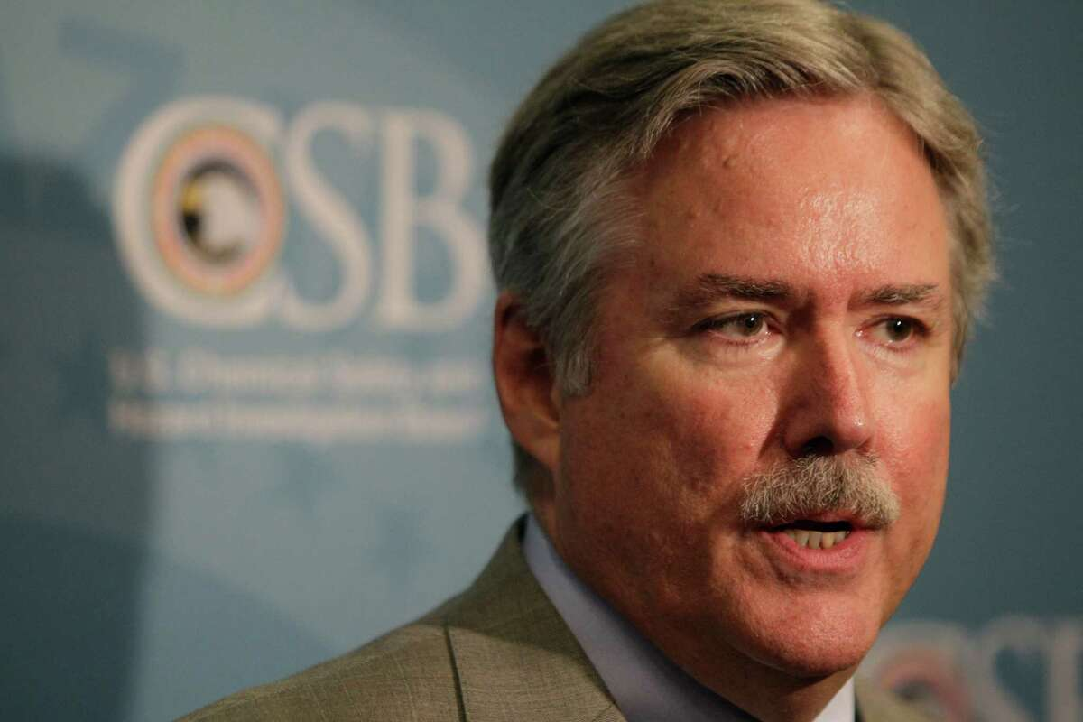 Don Holmstrom, CSB Western Regional Office of Investigations Director, speaking during the Chemical Safety Board public hearing at Hyatt Regency Hotel, 1200 Louisiana Street, at the Hyatt Regency Hotel, 1200 Louisiana Street, Tuesday, July 24, 2012, in Houston.