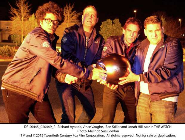 "Richard Ayoade (from left), Vince Vaughn, Ben Stiller and Jonah Hill get their hands on an unusual weapon in ""The Watch."" Photo: Photo: Melinda Sue Gordon, 20th Century Fox / TM and © 2012 Twentieth Century Fox Film Corporation.  All rights reserved.  Not for sale or duplication."