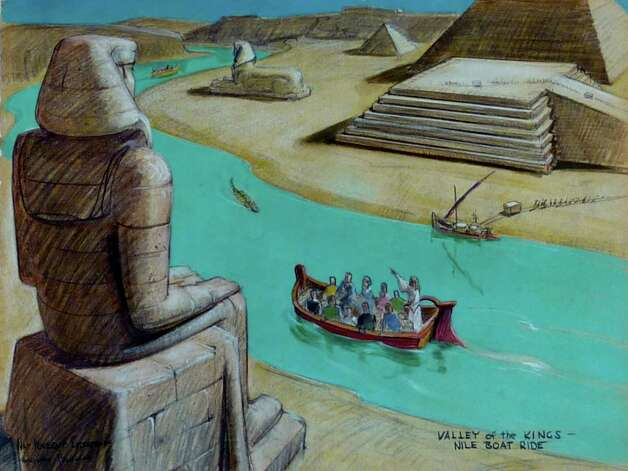 An artist's rendering shows Bible Storyland's Valley of the Kings Nile Boat Ride. Photo: Courtesy, Beekeeper Productions