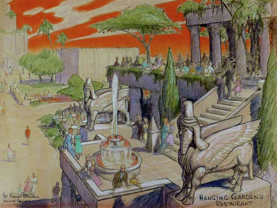This rendering depicts the Hanging Gardens Restaurant at the proposed theme park. Many sketches of the park, the brainchild of former Disney executive Nat Winecoff, were destroyed in a house fire. Photo: Courtesy, Beekeeper Productions