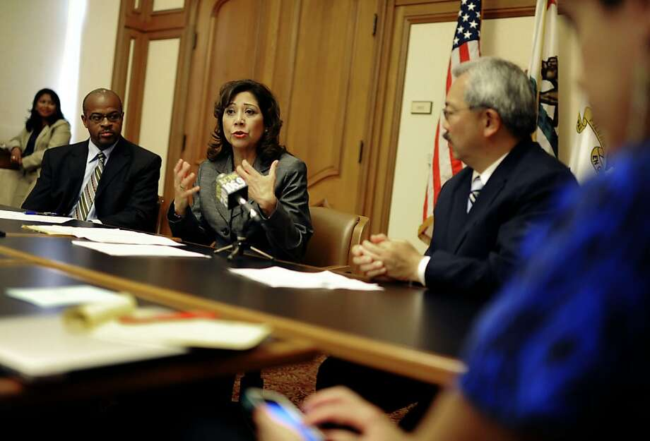 Hilda Solis, U.S Labor Secretary, talks about the Labor Department's Summer Jobs+initiative, and the important part that the technology industry plays in building a strong local economy and helping to connect young people with jobs at City Hall, on Tuesday, July 24, 2012 in San Francisco, Calif. Photo: Yue Wu, The Chronicle