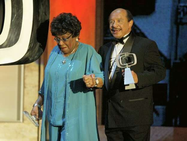 Actress Isabel Sanford (left) and Actor Sherman Hemsley pick up their Favorite Cantankerous Couple awards on stage at the 2nd Annual TV Land Awards held on March 7, 2004 at The Hollywood Palladium, in Hollywood, California. (Photo by Kevin Winter/Getty Images) (Kevin Winter / Getty Images)