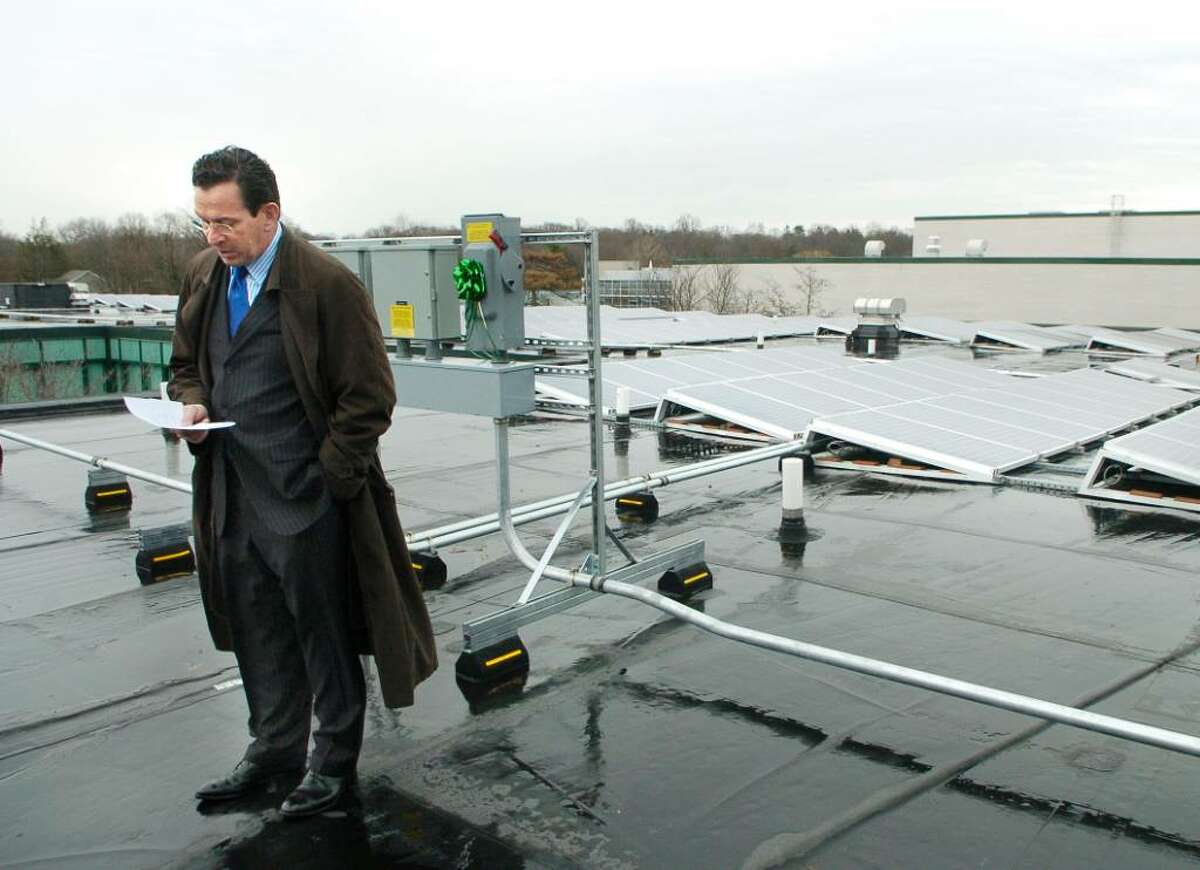 On his last day in office, Stamford Mayor, Dannel Malloy, presides over the dedication of the Solar roof installed on top of Rippowam Middle School in Stamford, Conn. on Monday November 30, 2009.