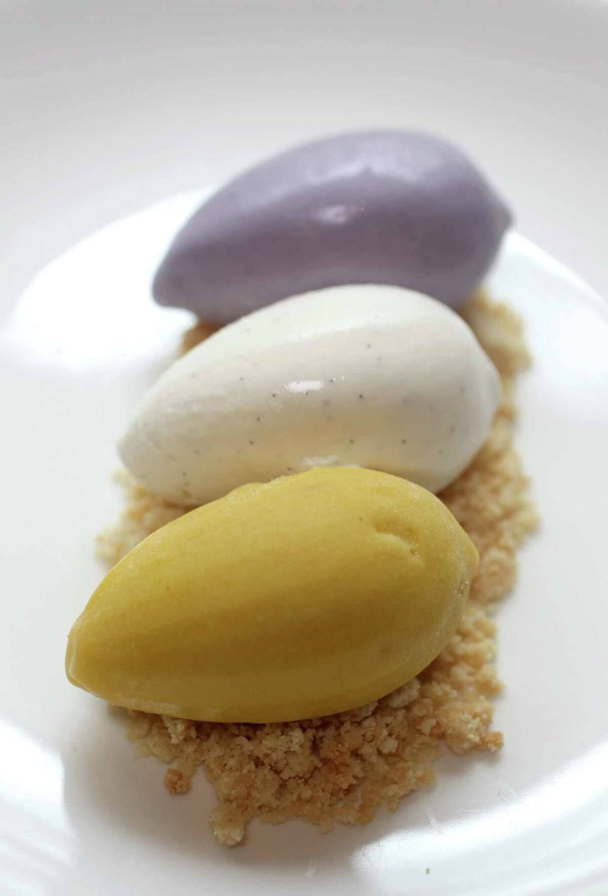 Cloud 10 Creamery's Chris Leung created ice cream flavors (forground to background) Mango/cilantro; vanilla bean; and