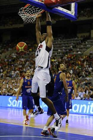 BARCELONA, SPAIN - JULY 24:  Kobe Bryant #10 of the US Men's Senior National Team dunks the ball during a Pre-Olympic Men's Exhibition Game between USA and Spain at Palau Sant Jordi on July 24, 2012 in Barcelona, Spain. Photo: David Ramos, Getty Images / 2012 Getty Images