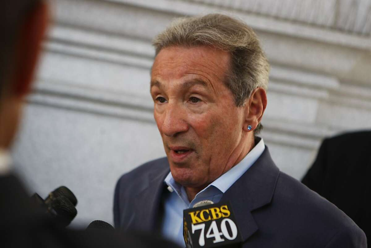 Assemblyman Tom Ammiano (D-San Francisco) speaks to reporters during a press conference for Wendy Walsh, mother of young man who killed himself because of bullying, on the steps of the State Building in San Francisco, Calif., on Monday, Oct. 17, 2011.