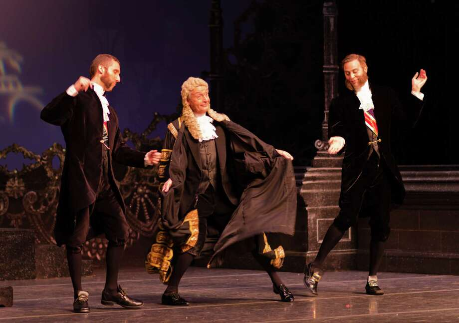 "Left to right, Lord Mountararat (Dennis Arrowsmith), the Lord Chancellor (Alistair Donkin) and Lord Tolloller (Joshua La Force) prove a pack of cut-ups in "" Iolanthe""  at Wortham  Theater Center. Photo: Bryan Key"