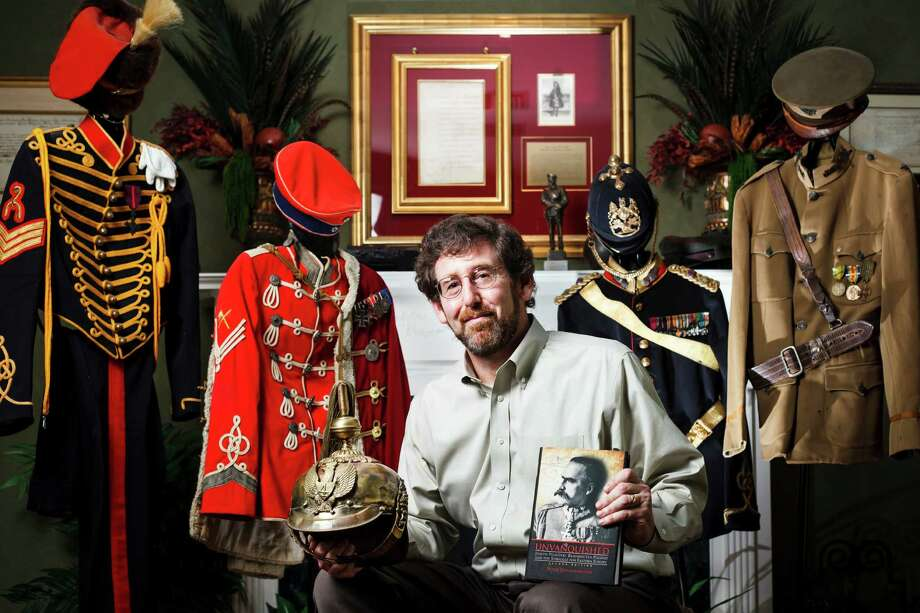 Pete Hetherington collected Polish military memorabilia during research for his biography. Photo: Michael Paulsen / © 2012 Houston Chronicle