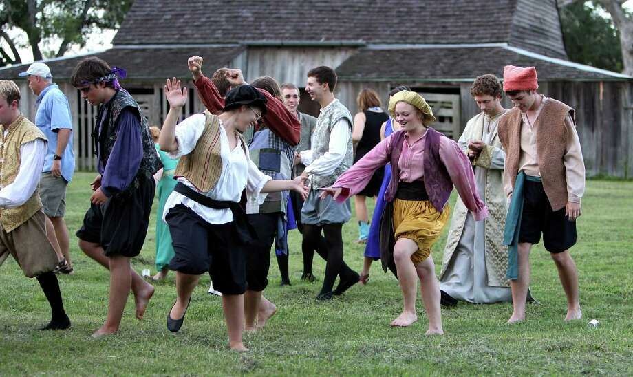 "Students get warmed up as they prepare to take the stage on opening night of  ""A Midsummer Night's Dream"" at the Shakespeare at Winedale festival, an annual event near Round Top. Photo: Karen Warren / © 2012  Houston Chronicle"